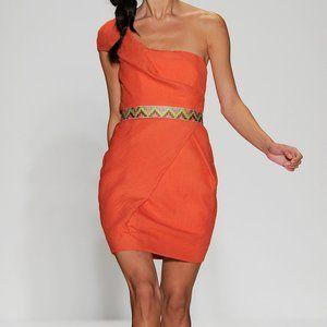 LELA ROSE Belted one-shoulder Crepe Mini Dress